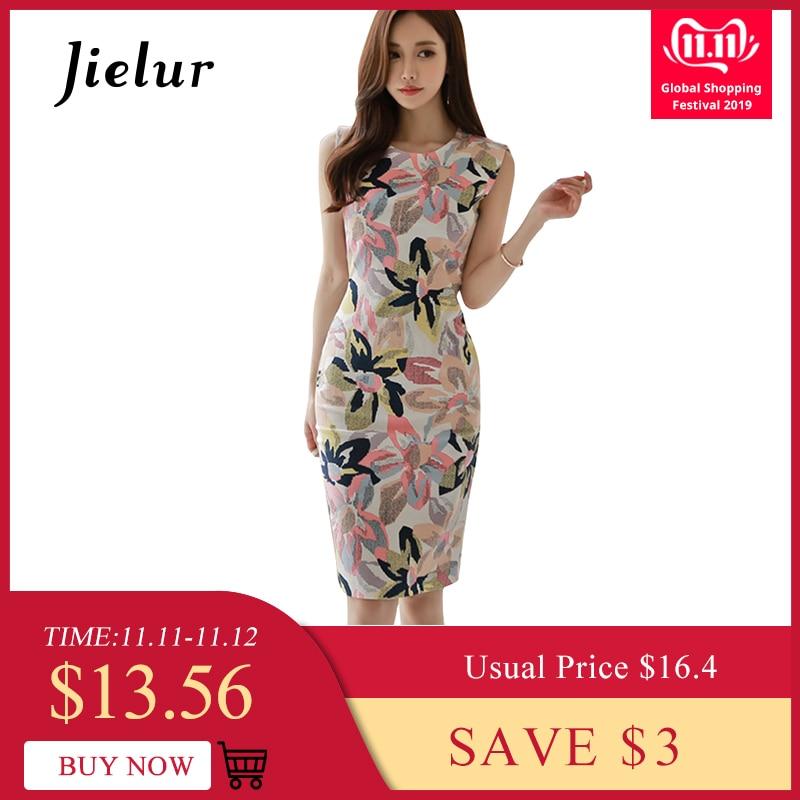 Jielur sundress feminino floral impressão sem mangas elegante vestido casual moda verão mini vestido bodycon vintage vestido de renda
