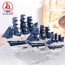 LUCKK 16-30CM Mediterranean Style Sailing Model Ornaments Solid Wooden Crafts Interior Decor For Home Room Office Manual Gifts