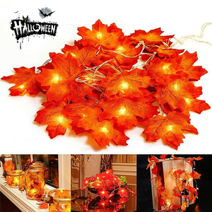 New Autumn Decoration 10/20/40 LED Artificial Autumn Leaves Maple Leaves Fall Garland String Light Decor Halloween Christmas