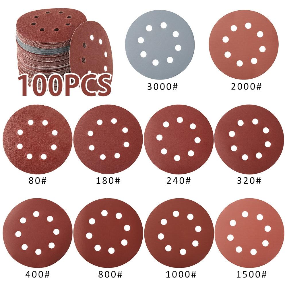100Pcs 5inch 125mm Sandpaper Automotive Discs Round Shape Hook Loop Sanding Paper Buffing Sheet Sander Polishing Pad