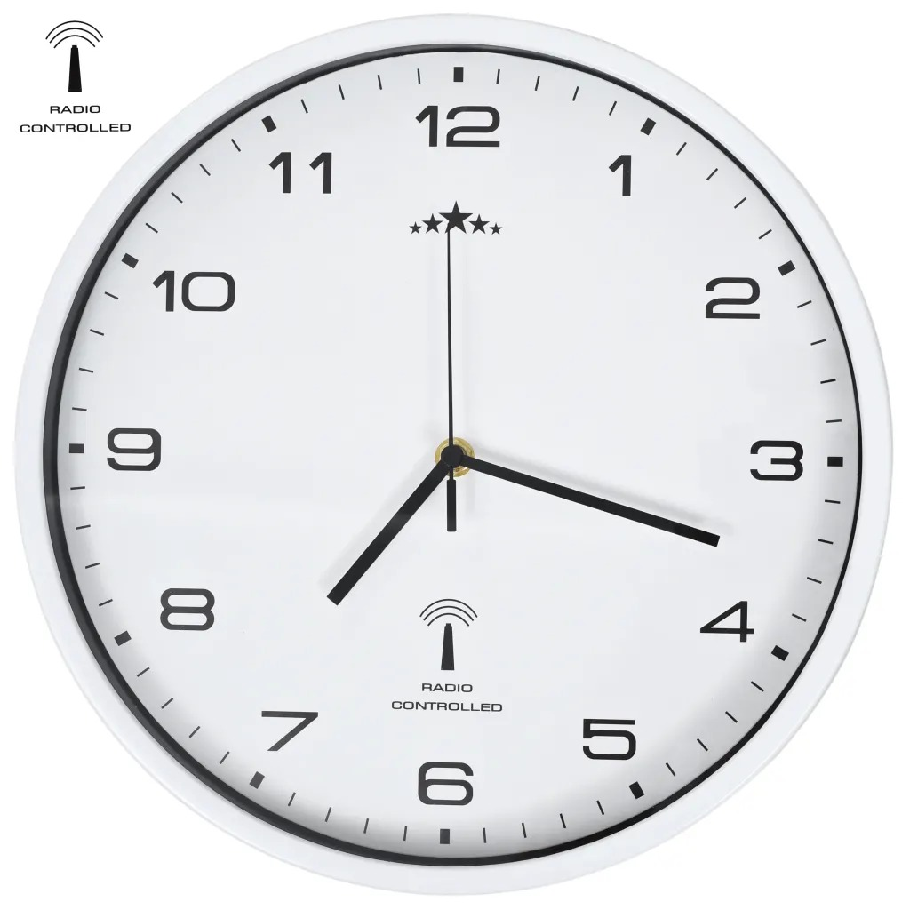 VidaXL 31 Cm Radio Controlled Wall Clock With Quartz Movement Home Decor Digital Clock For Office Christmas Gift Circular Clock