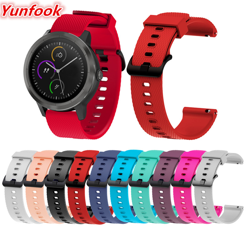20mm Silicone Wrist Strap For Garmin Vivoactive 3 Forerunner 645 Replacement Watchband For Vivomove HR Huami Amazfit Bip Band