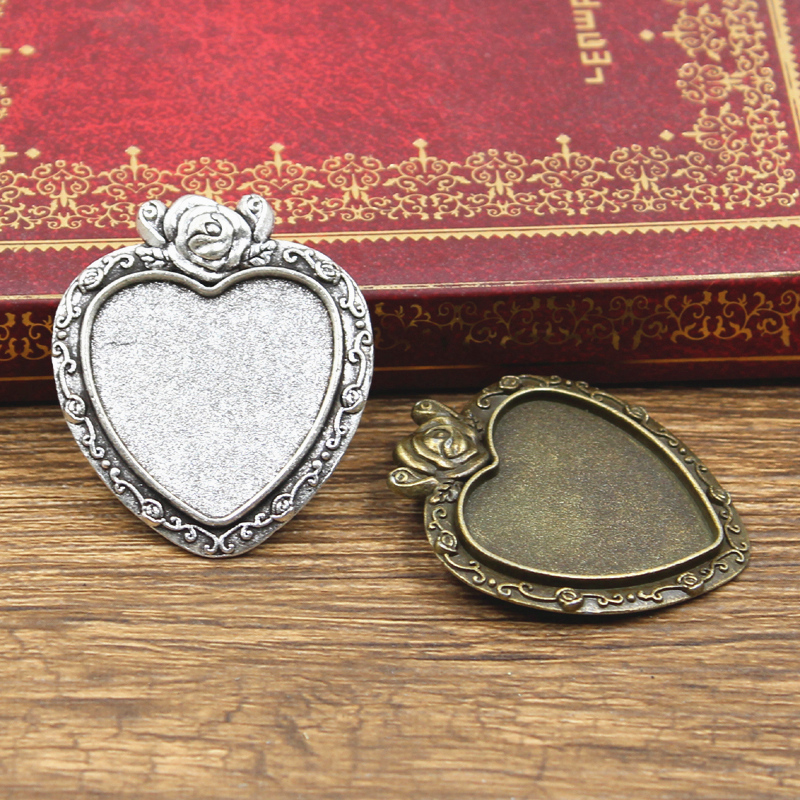 3pcs New 25mm Inner Size Antique Bronze Silver Color Heart Flower Rose Style Cabochon Base Setting Charms Pendant