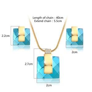 Image 5 - Viennis złoty kolor niebieski kamień kwadratowy Rhinestone kolczyki naszyjnik zestaw biżuterii wesele nowe kobiety biżuteria