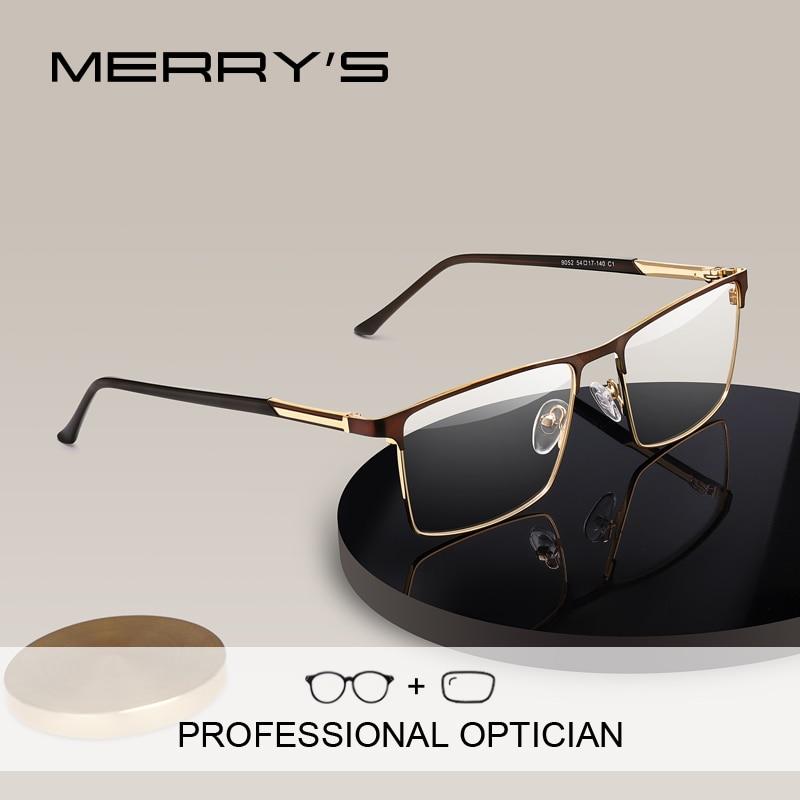 MERRYS DESIGN Men Prescription Glasses Square Myopia Eyeglasses Male Business Style Frames Old Men Optical Glasses S2052PG