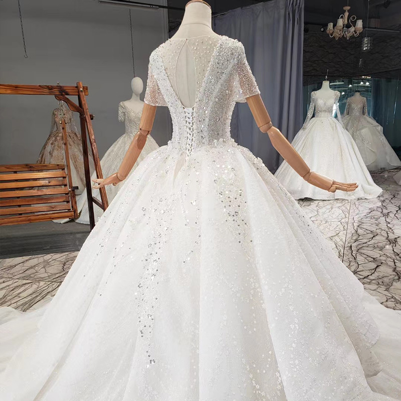 HTL1838 Top Full Of Beads And Sequins Tulled Wedding Dress 2020 Luxury Short Sleeve Lace Up Back white 4
