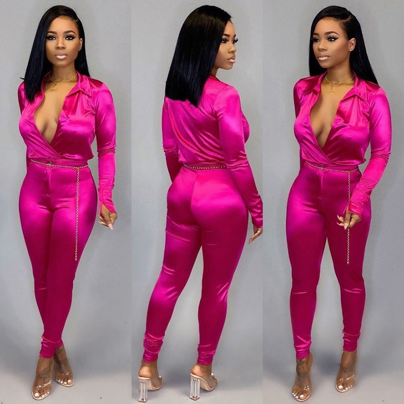 ZKYZWX Silk Satin 2 Piece Set Women Sexy Club Outfits Fashion Clothes Long Sleeve Top And Pant Suits Two Piece Matching Sets