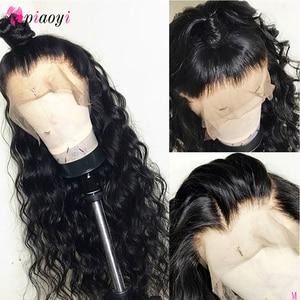 Piaoyi, pelucas de cabello humano con encaje Frontal para mujeres negras, pelucas con ondas de cuerpo peruano 150%, pelucas con cabello Natural 360 de encaje Frontal