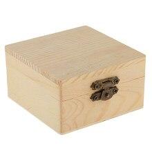 Mini caixa de madeira quadrada em branco, caixa de joias para pintura de artesanato