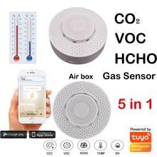 4 pçs wi fi tuya inteligente detector de dióxido carbono co2 sensor gás formaldeído voc temperatura umidade sensor controle app caixa ar