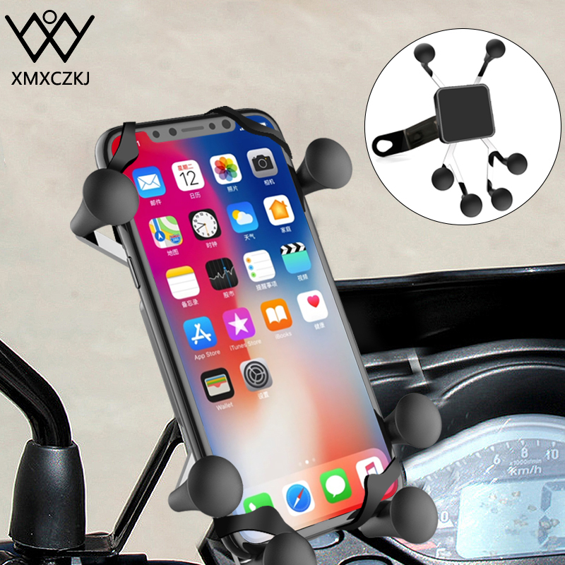 XMXCZKJ X-Grip Mount Motorcycle Holder Motorcycle Rear Mirror Mount For Gopro Smartphone Moto Holder For IPhone XR 3.5-6.3 Inch