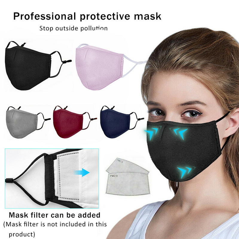 2PCS Unisex Adjustable Cotton Mouth Mask Anti Dust Mask Face Mask Washable Reusable Masks Can Insert PM2.5 Filters