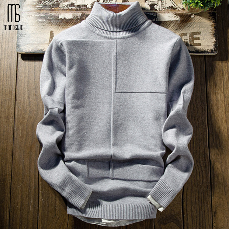 Manoswe Men's High Neck Solid Casual Warm Jumper Slim Knitted Pullovers 2019 New Autumn Winter Sweater Male Large Size XXL