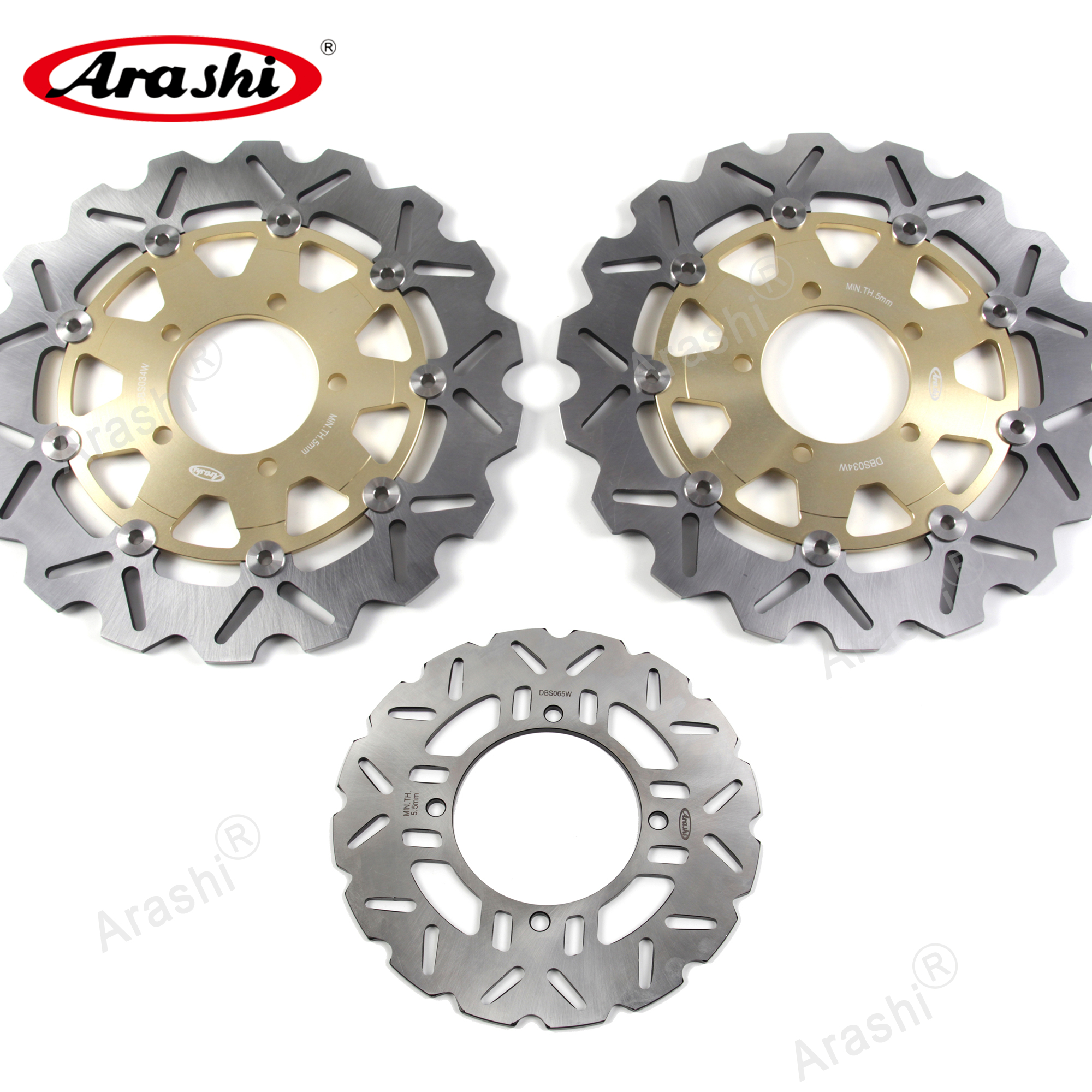 Arashi 1 Set For <font><b>KAWASAKI</b></font> <font><b>Z750</b></font> / <font><b>Z750</b></font> ABS 2007-2012 CNC Front Rear <font><b>Brake</b></font> <font><b>Disc</b></font> Disks Rotors Z 750 2007 2008 2009 2010 2011 2012 image