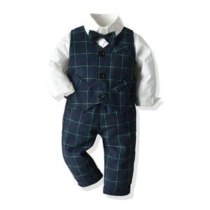 Image 1 - Kids Boys Formal Suits Blazers Sets 4Pcs Clear Gentleman Kids Baby Boys Suit Tops Shirt Waistcoat Tie Pant 4PCS Set Clothes