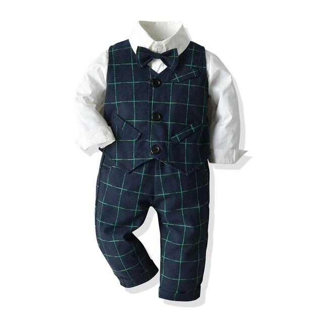 Kids Boys Formal Suits Blazers Sets 4Pcs Clear Gentleman Kids Baby Boys Suit Tops Shirt Waistcoat Tie Pant 4PCS Set Clothes
