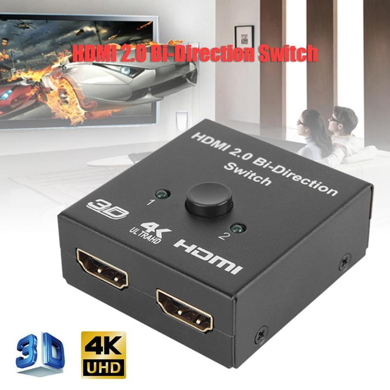 2 in 1 2K x 4K 3D 1080P HDR HDCP2.2 HDMI Bi-Direction Switch Box Two-way Smart HDMI Switcher Converter for PC TV Gaming Consoles image