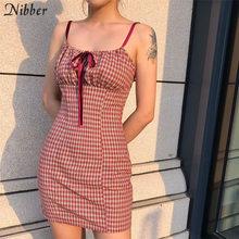 Nibber レトロなチェック柄を印刷ドレス women2019autumn 原宿弓レースアップドレスファッションストリートカジュアルエレガントなドレス mujer