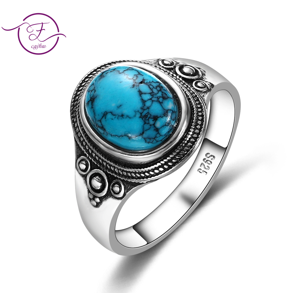 Natural 8x10MM Turquoise Women's Rings 925 Silver Gemstone Jewelry Party Anniversary Birthday Gift Daily Life