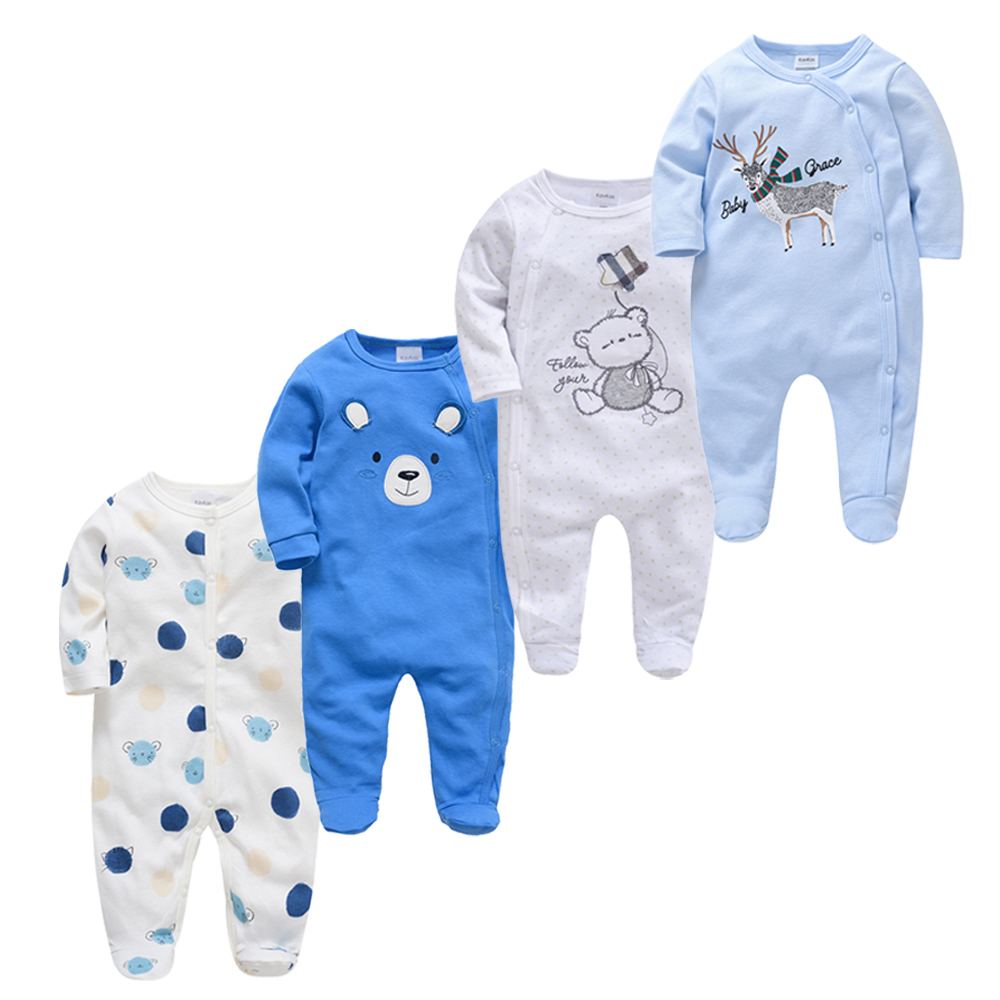 Kavkas 3 4 pcs/lot Baby Girl Rompers roupa de bebes Long Sleeve Summer Soft Cotton Boys Clothes New Born Body Bebes Clothing