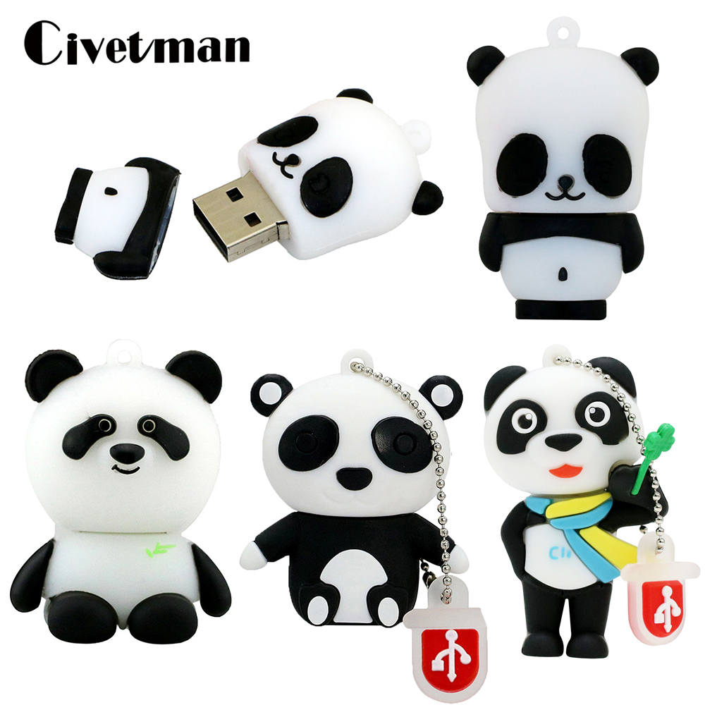 Novelty Animal Panda USB Flash Drive Cartoon Pen Drive 8GB 16GB 32GB 64GB 128GB 256GB Pendrive Usb2.0 Flash Drives Memory Stick