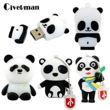 Novelty Animal Panda USB Flash Drive Cartoon Pen Drive 8GB 16GB 32GB 64GB 128GB 256GB Pendrive Usb2.0 Flash Drives Memory Stick