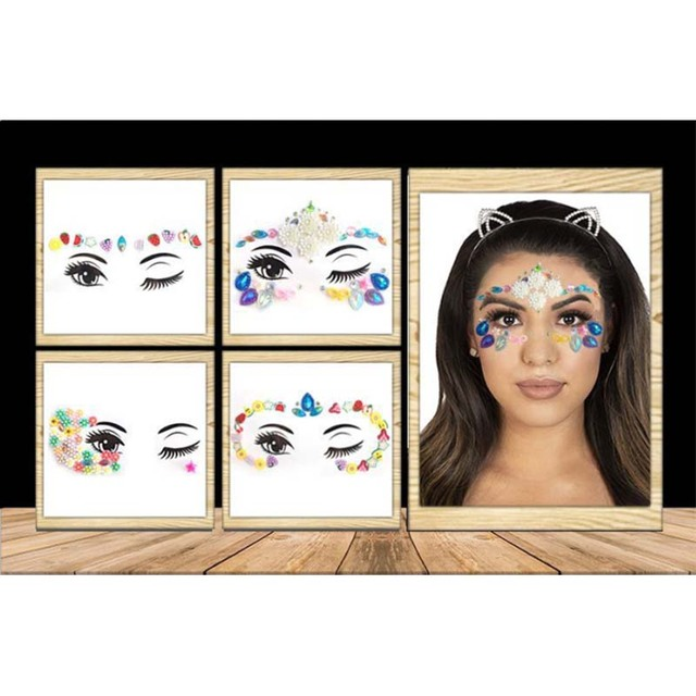 Rhinestone festival Face jewels sticker Fake Tattoo Stickers Body Glitter Tattoos Gems Flash for Music Festival Party Makeup 3