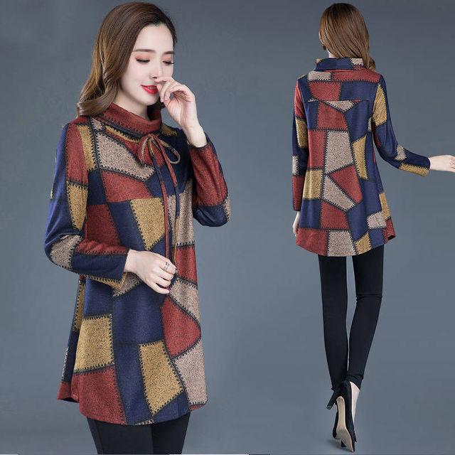 Tunic Women Long sleeve Plus size Tops Vintage Blouse Turtleneck Plaid Autumn Winter Warm Shirt Clothes Ladies Casual 4