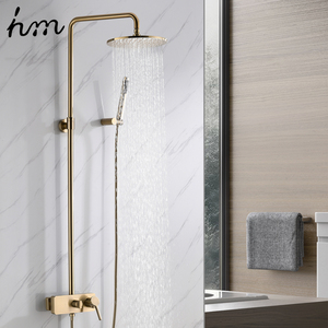 "Image 2 - hm Brushed Gold Shower System  10"" Shower Faucet Set Bathroom Rain Shower head and 3 Setting Handheld Shower Head Set"