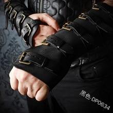 Steampunk viking couro braceletes medieval retro cinta fivela luvas de couro ajustável vambraces cosplay pulseira traje