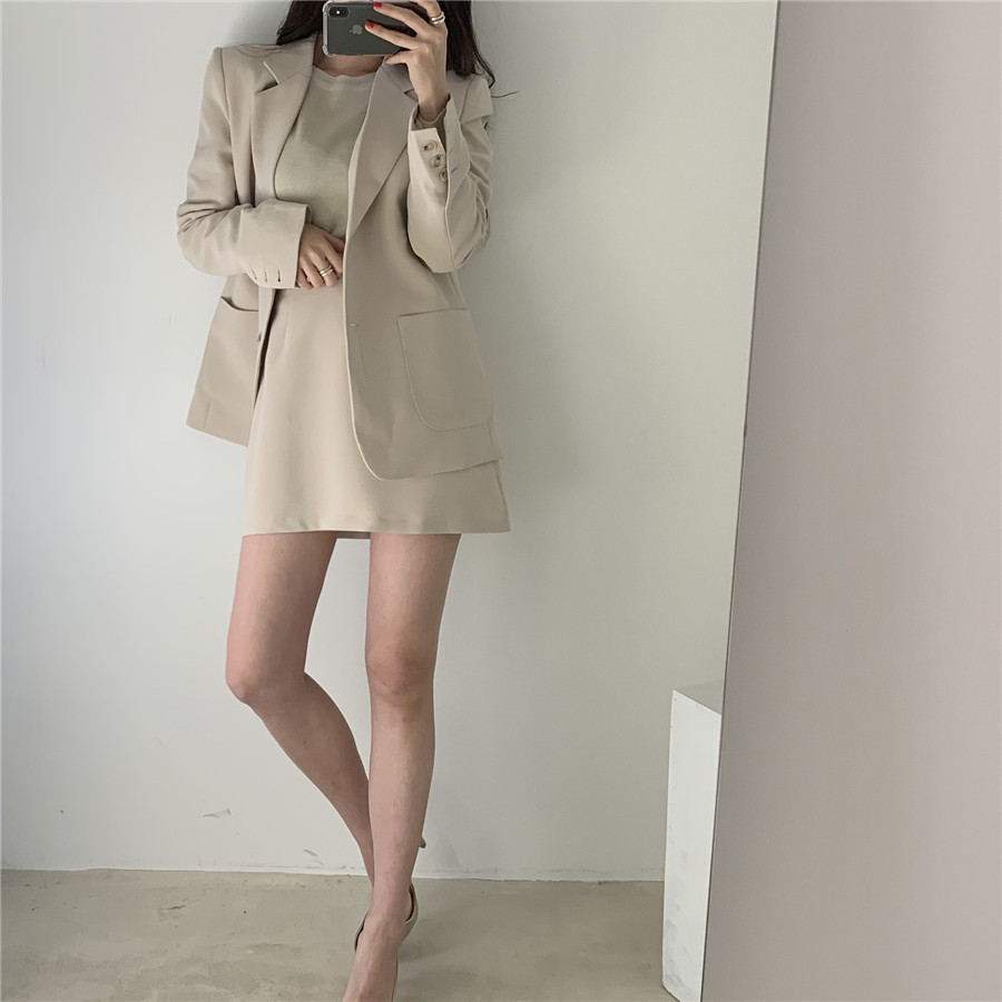 Yesexy 2019 Autumn Winter Elegant Female Blazer Solid Color 2pcs Women Suit with a Shirt single-breasted Jacket VR1235