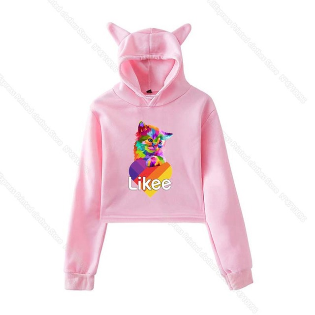Girls Pink Cat Ear LIKEE Hoodies Cat Crop Top Likee App Hoodie Women Cartoon Unicorn Fox Sweatshirt Female Harajuku Streetwear 5