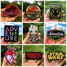 Prajna Hippie Patches Star Wars Embroidered For Clothes Stripes Stickers Iron On Applique Groot Camping Badge