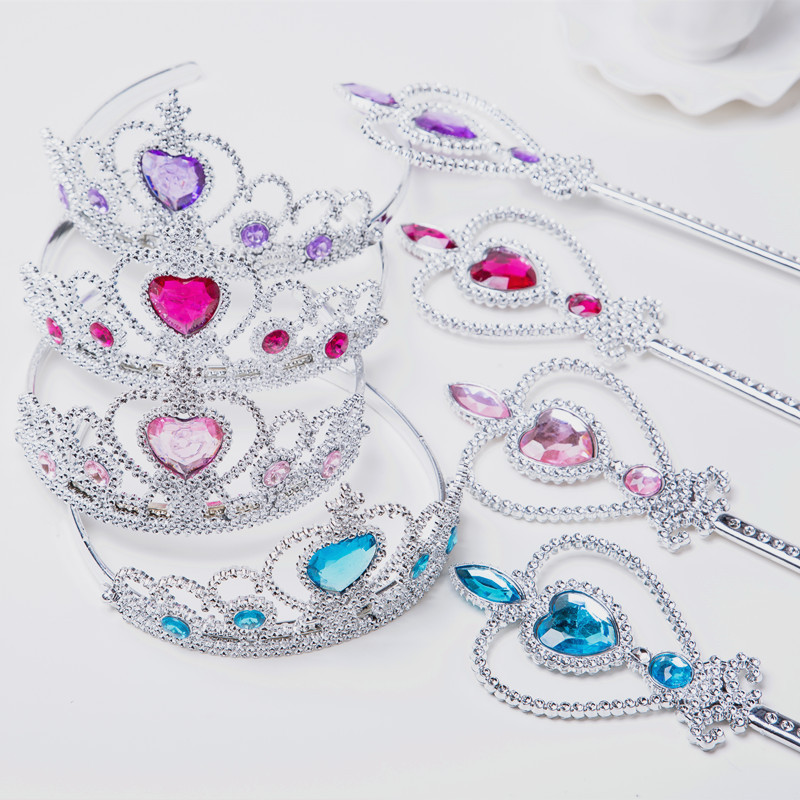Children's Plastic Crown Tiara Hairpin Children's Headband Magic Wand Set Princess Jewelry Princess Clothes's Accessories