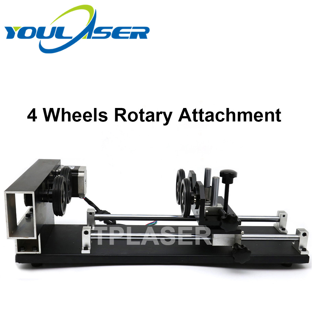 Laser Rotary Attachment 4 Wheels Roller Rotation Axis Rotate Engraving For Laser Engraving Machine