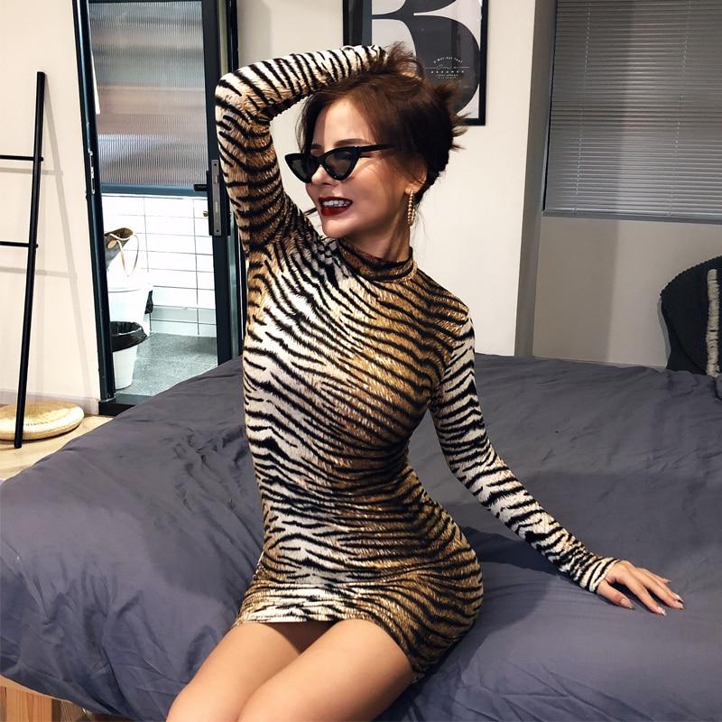 Leopard Print Long Sleeve Slim Bodycon Sexy Dress