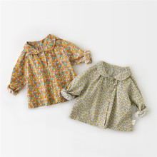 Shirts Baby-Girl Cute Floral Toddler Tops Turn-Down-Collar Long-Sleeve Kids Casual New