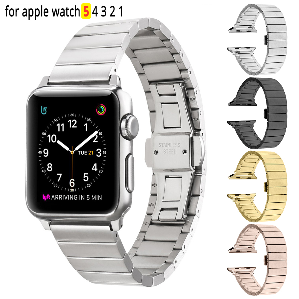 Stainless Steel Replacement Strap Link Bracelet For Apple Watch 44mm Band Iwatch 5 4 40mm Smart Watch Accessories Loop 42mm 38mm