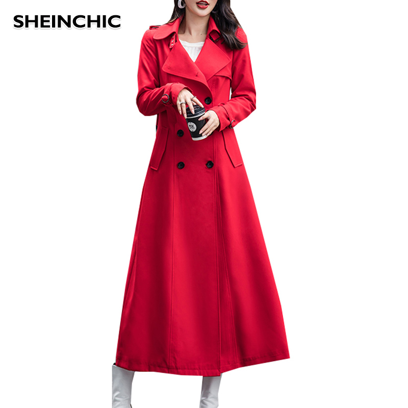 Large Size S-3XL Women's Double-Breasted Trench Coat With Belt Classical Turn-down Collar Long Sleeve Khaki/Red/Black Long Coat