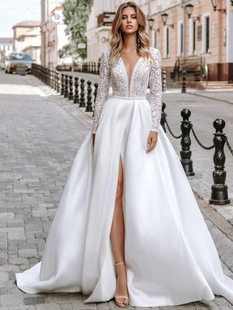 Wedding-Dresses Robe-De-Mariee Satin Long-Sleeve Plus-Size Lace V-Neck Eightree A-Line