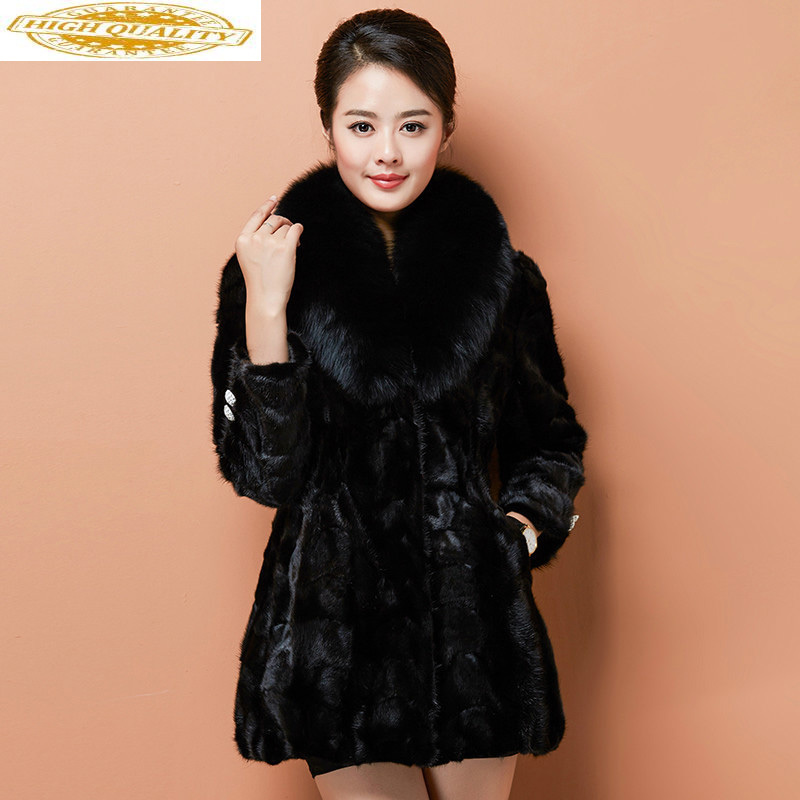 Real Mink Fur Coat Women Clothes 2108 Autumn Winter Woman Coat Female Luxury Jacket Fox Fur Collar Korean Jackets KJ1038