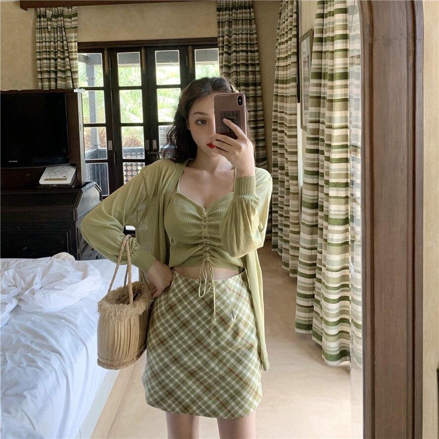 Photo Shoot 2019 WOMEN'S Dress Summer Drawstring Camisole + Knitted Cardigan + Short Skirt Skirt Skirt Set