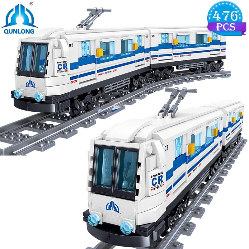 Qunlong criador cidade trem transporte blocos de construção alta velocidade metro ferroviário modelo brinquedos para crianças ou presentes aniversário adulto