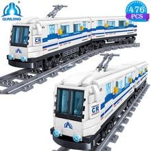 Qunlong yaratıcı şehir tren ulaşım yapı taşları yüksek hızlı metro raylı Model oyuncaklar çocuklar veya yetişkinler için doğum günü hediyeleri