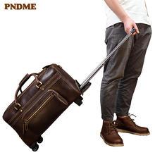 Вместительная мужская дорожная сумка pndme из натуральной кожи
