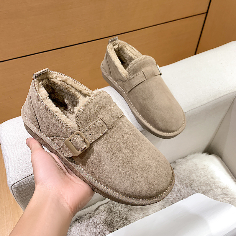 2021 New Women's Shoes Winter Ankle Boots Real Leather Sheepskin Fur Belt Buckle Lazy Flats Woman Girls Spring Short Snow Boots