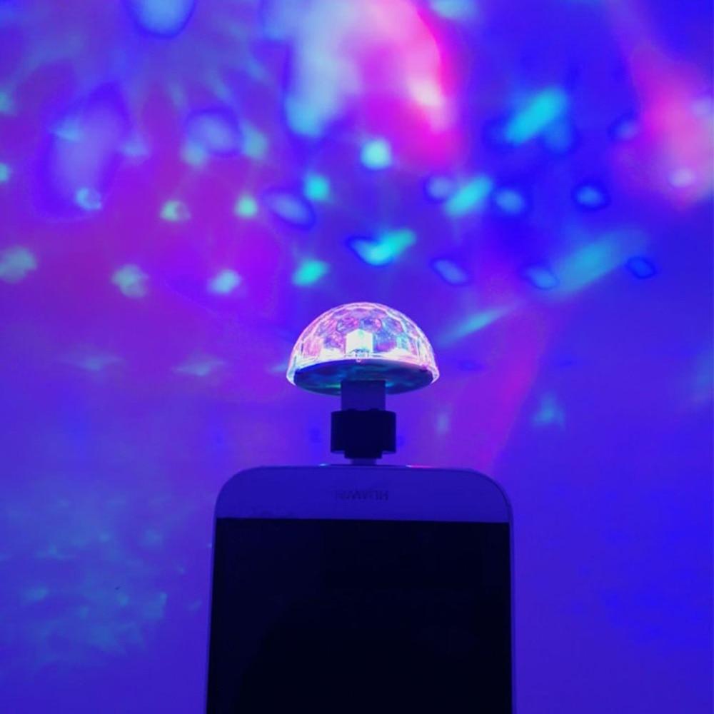 7 Colors Mini USB Stage Lights DJ Disco Ball Party Lights Projector RGB Stage Lighting Effect Lamp Light Music Christmas KTV Par