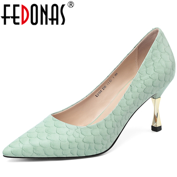 FEDONAS Concise Elegant Women Cow Leather Fish-Scale Pattern Shoes Party Wedding Pointed Toe Strange Heels Shallow Shoes Woman