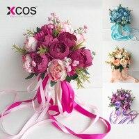XCOS Свадебный букет невесты Свадебный букет поставки искусственный шелк Роза Пион Розовый цветок украшение стола