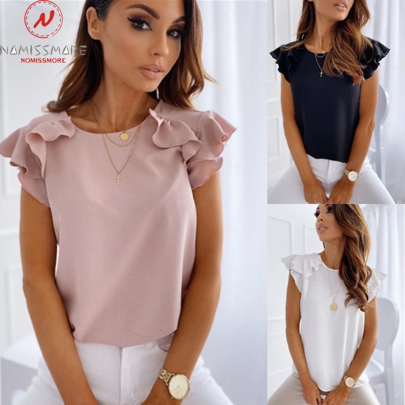 Elegant Women Summer Solid Color Pullovers T Shirts Patchwork Design Ruffles Decor O Neck Ruffles Short Sleeve Slim Top T-Shirts  - AliExpress